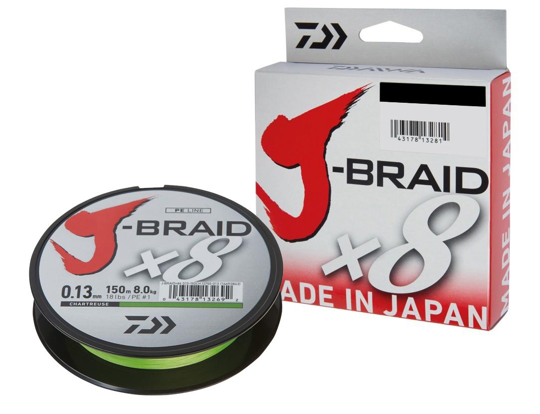 Daiwa J-Braid X8 0,13mm 8,0kg 1500m dunkelgrün Geflochtene Schnur Angelschnur