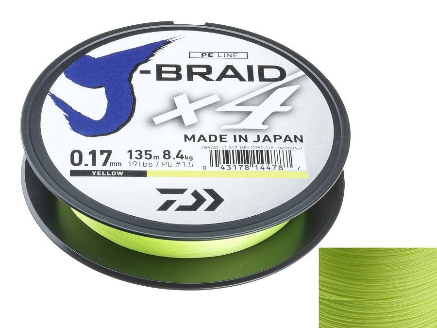 Daiwa J-Braid Grand X8 135m Yellow Braided Line Trecciato NUOVO 2019