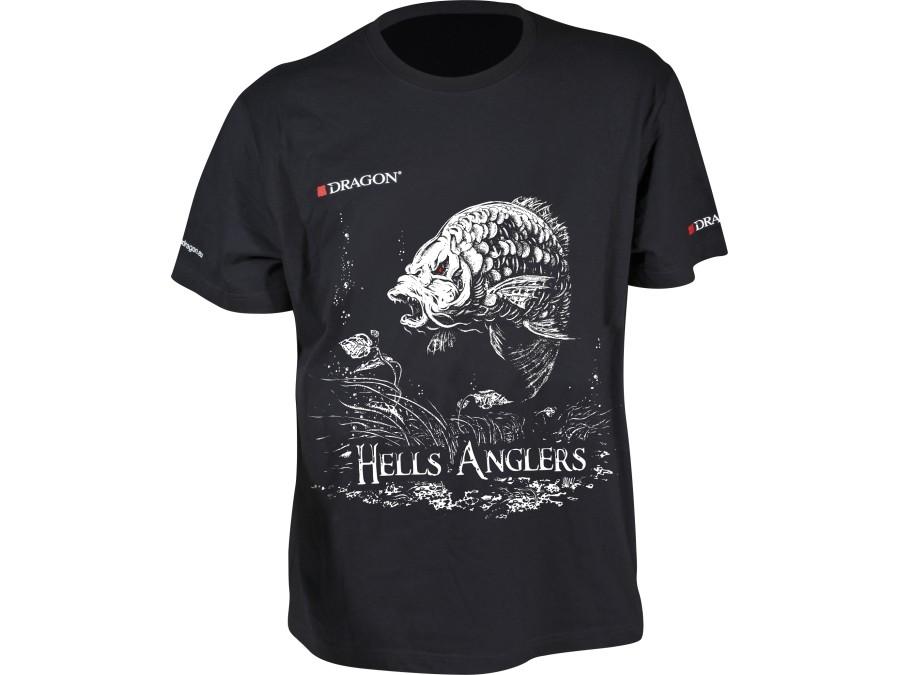 Sizes M-XXXL Dragon Hells Anglers T-shirt Catfish Black High class cotton